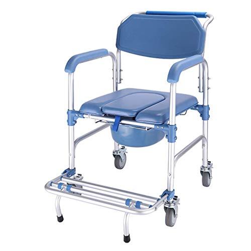 YXZQ Toilettenstuhl, Duschstuhl mit Rädern Kommodenstuhl und gepolsterter Toilettensitz Transportstuhl Rollstuhl Bad Toilette 90x53x53cm