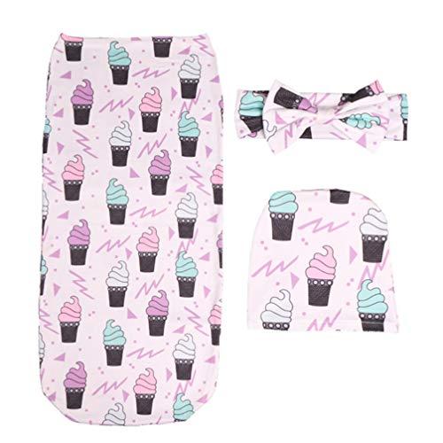 Lurrose babyslaapzak softset babyslaapzak met hoofdband hoed babyfotografie rekwisieten (roze konijn patroon) Größe 1 IJscrème-patroon