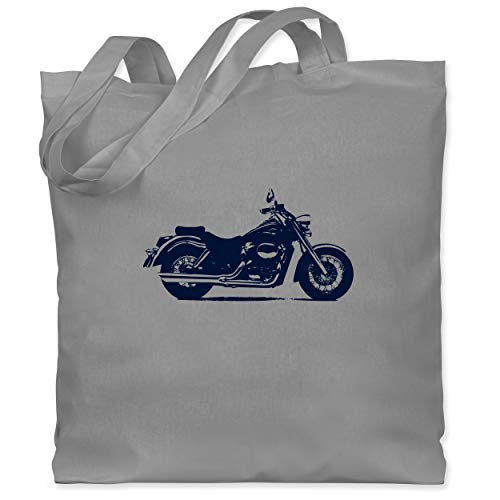 Shirtracer Motorräder - Motorrad - Unisize - Hellgrau - stoffbeutel motorrad - WM101 - Stoffbeutel aus Baumwolle Jutebeutel lange Henkel
