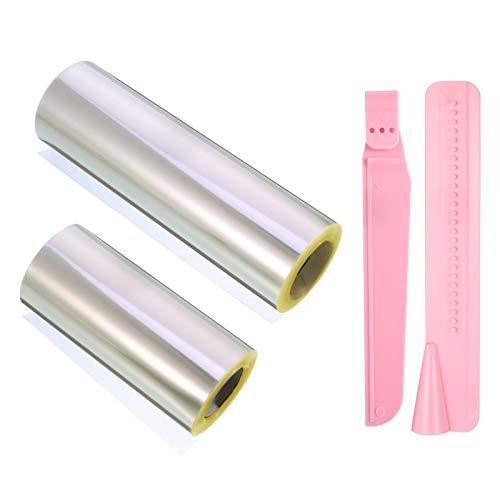 QINREN 2 collares transparentes para tartas, rollo de lámina para borde de tartas, decoración de tartas, anillos de postre, para hornear en casa, 10 cm, 15 cm