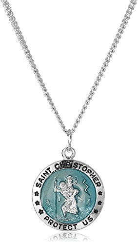 Men's Sterling Silver Round St. Christopher Pendant with Blue Background and Rhodium Plated Stainless Steel Chain, 20""