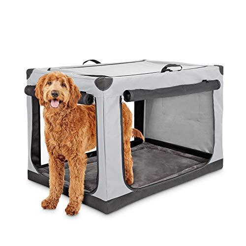 """Animaze Portable Canvas Light Grey Dog Crate, 42"""", X-Large Basic Crates"""