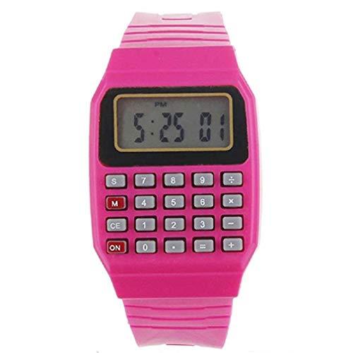 Scpink Multifunktions-Uhr für Kinder Taschenrechner Multifunktions-Uhr LED 22.5cm rot
