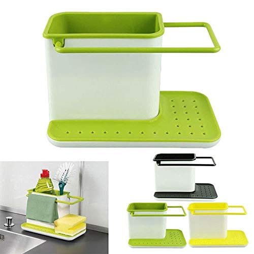 Zollyss 3 in 1 Kitchen Sink Organizer for Dishwasher Liquid, Brush, Cloth, Soap, Sponge, etc. – (Pack of 1)