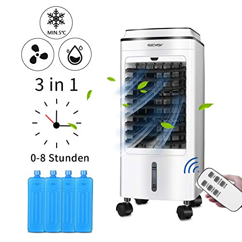 3-in-1 Kleines Mobil Klimagerät ohne abluftschlauch,Luftbefeuchter mit Wasserkühlung Eisbox, Platzsparend wohnung Ventilator mit Fernbedienung,Verdunstungskühler