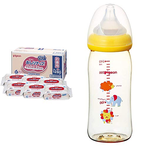 [Set Purchase] Pigeon Butt Nap (Soft, Thick Type) [Clean and 99% Pure Water No Additives] Refill Refill Refills 80 Sheets x 16 Packs (1,280 Sheets) & [Plastic 84 ml] Pigeon Breast Feeding Bottle for Baby Feeding 0 Months and Up (From 3 Months)