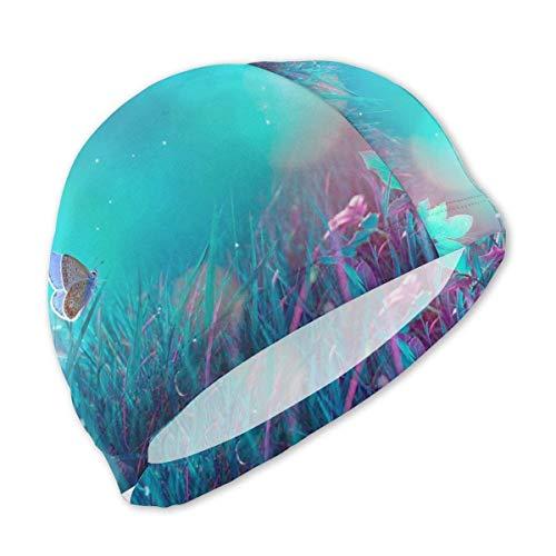 HFHY Papillons Bleu-Violet Clair de Lune sur Le Bonnet de Bain en Herbe pour Enfants, Bonnet de Bain en Polyester personnalisé