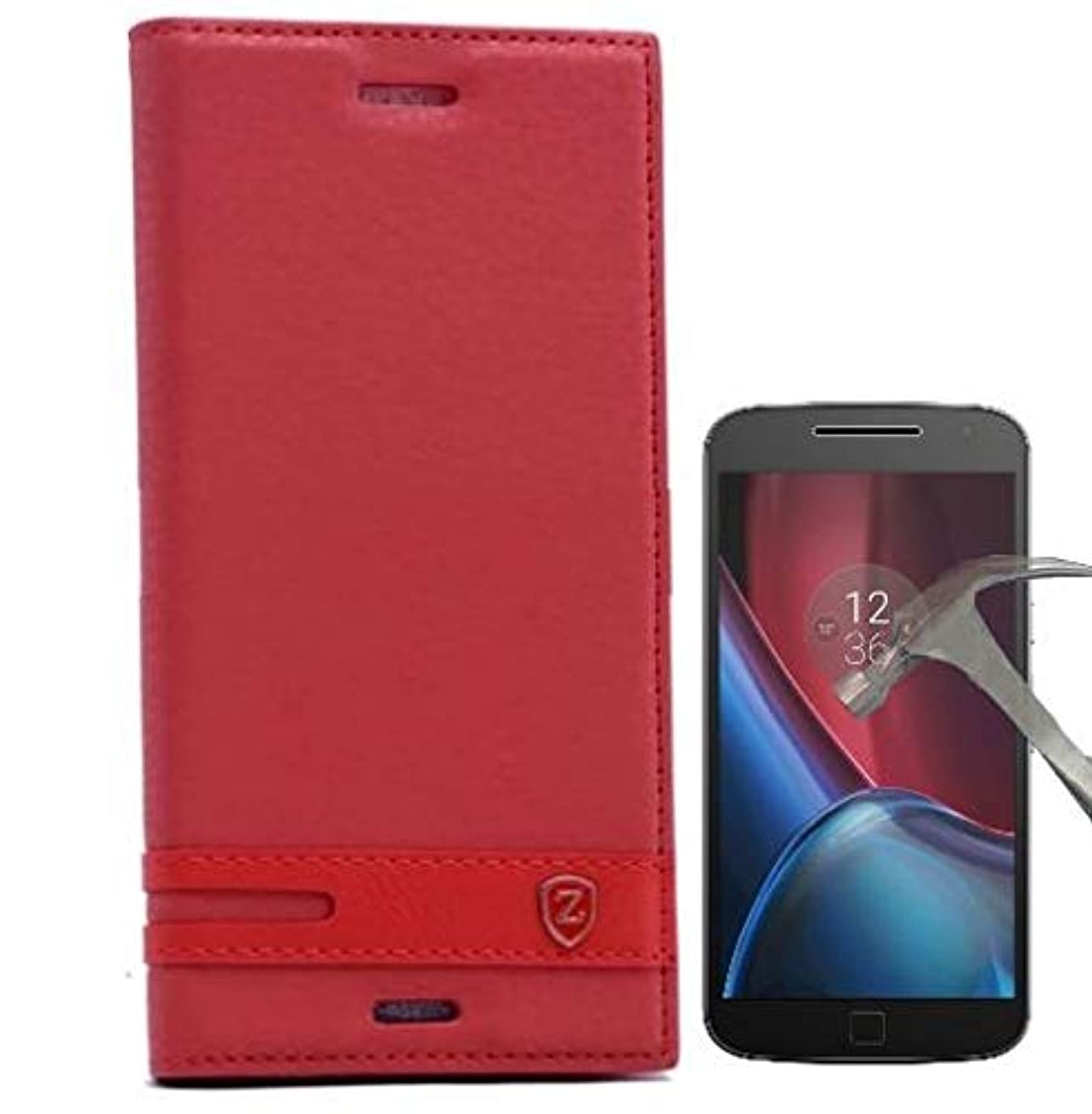 Teleplus for Motorola Moto 4G Plus Magnet Lux Cover Case Red + Glass Screen Protector