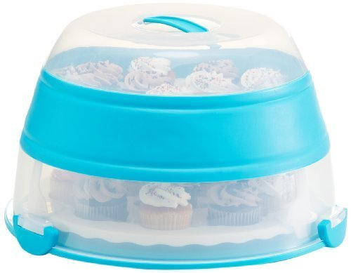 Prepworks by Progressive Collapsible Cupcake and Cake Carrier, 24 Cupcakes, 2 Layer, Easy to Transport Muffins, Cookies or Dessert to Parties - Teal - In Amazon Frustration Free