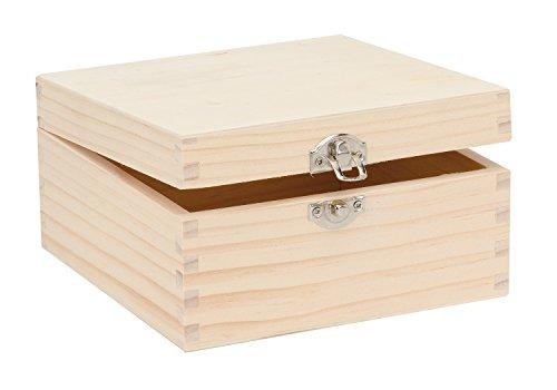 Glorex 6 1682 103 - Holzbox aus Kiefernholz, quadratisch, mit Verschluss, ca. 16 x 16 x 8,5 cm groß, FSC Mix, zum Bemalen, Bekleben oder Verzieren mit dem Brandmalkolben