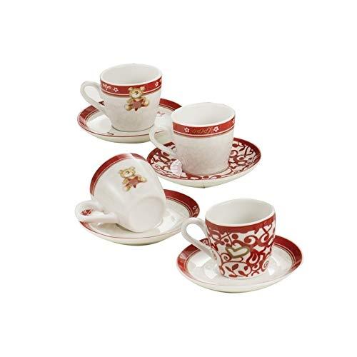 Brandani 54443, Tazzina Caffe', Abbracci, Set 4 Pezzi, In Porcellana