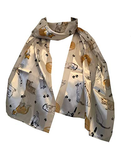 Pamper Yourself Now Creme glänzende Katze mit Multi farbige Katzen dünnen Schal(Cream shiny cat scarf with multi coloured Cats)