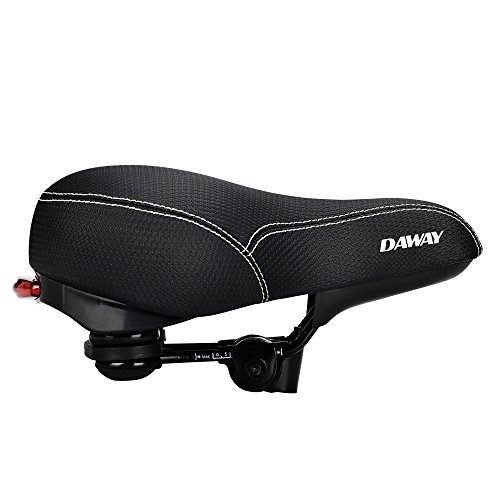 DAWAY Comfortable Men Women Bike Seat C99 Memory Foam Padded Leather Wide Bicycle Saddle Cushion with Taillight, Waterproof, Dual Spring Designed, Soft, Breathable, Fit Most Bikes