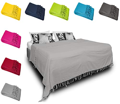 one-home Tagesdecke Bettüberwurf 220x240 cm Sofa Überwurf Bettdecke Doppelbett Baumwolle, Farbe:Grau