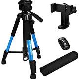 """Torjim 60"""" Camera Tripod with Carry Bag, Lightweight Travel Aluminum Professional Tripod Stand (5kg/11lb Load) with Bluetooth Remote for DSLR SLR Cameras Compatible with Phone-Blue"""