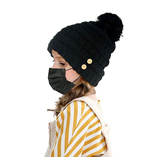 LUCKYBUNNY Boys Girls Winter Hat with Buttons for Face Cover Holder, Fleece Lined Warm Pom Pom Cap Knit Beanie (Black)