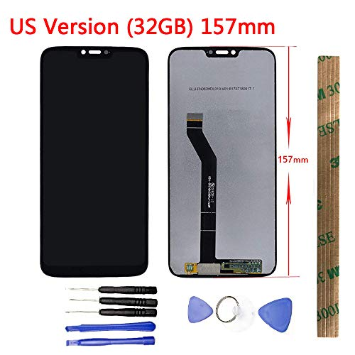 JayTong - Pantalla LCD de Pantalla táctil de Cristal montado y Herramientas para Moto G7 Power XT1955-01/02/04/05/07 (32GB) 157 mm, tamaño Grande, versión Americana, Color Negro