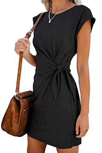 Sommerkleid Damen Elegant Casual Kurzarm Einfarbig Rundhals Party Kurze Kleider Strandkleid Minikleider (328-Schwarz, S)