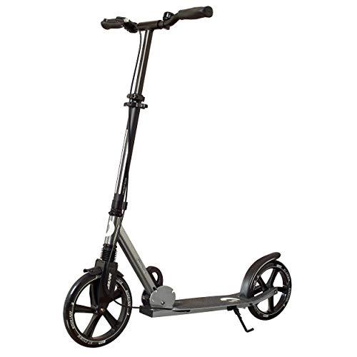 Best Sporting Scooter 250er Rolle, gefederter Cityroller mit ergonomischen Griffen, Kinder-Tretroller mit Handbremse und Klingel, Farbe: anthrazit