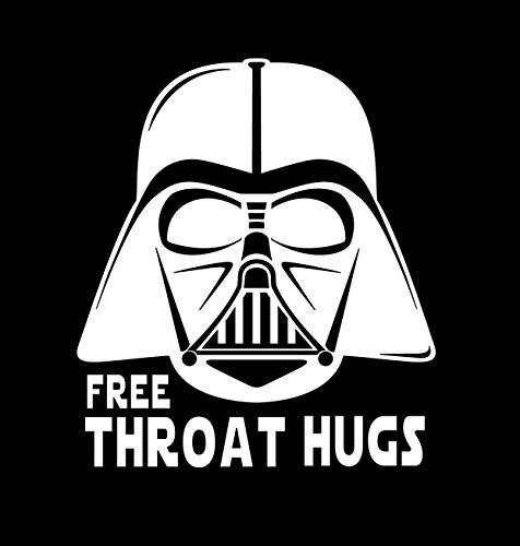 BoMaxx Decals Star Wars Sticker Decal   Darth Vader Sticker Decal Free Throat Hugs   Car Decal, Tablet, Laptop, Water Bottle. (White, 5' x 5.75')