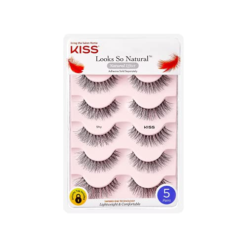 KISS Looks So Natural False Eyelashes Multipack, Lightweight & Comfortable, Natural-Looking, Tapered End Technology, Reusable, Cruelty-Free, Contact Lens Friendly, Style Shy, 5 Count