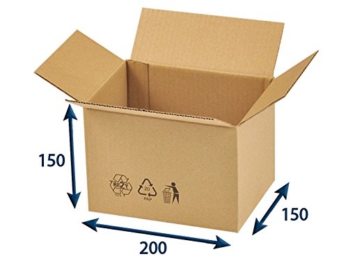 25 x Versandkartons (Faltschachteln, Faltkarton, Wellpappkarton, Wellpappfaltkarton, Kartons), 3-Sicht, 200x150x150mm