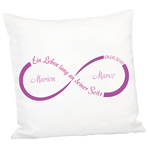 Geschenke 24: Kissen - Unendlichkeit mit Personalisierung (Lila) - personalisiertes Kuschelkissen - Romantisches Zierkissen mit Namen und Datum
