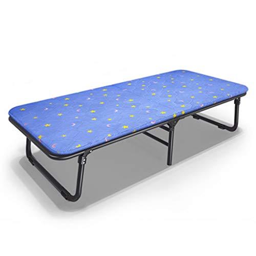Klappbett Hause Einzel Holzbett Büro Lunchbett Einfache Begleitende Schlafsessel Bett Outdoor Tragbare Camping Bett (Color : Blue, Size : 190 * 63.5 * 38CM)