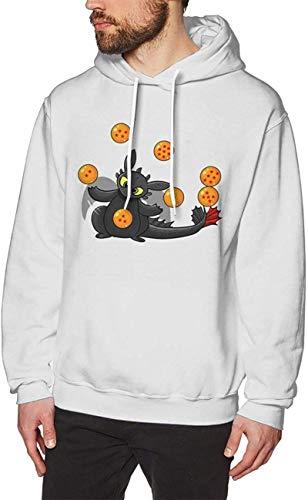 How to Tr_Ain Your Dra_Gon Hoodie Sweatshirt Mens Cotton Long Sleeve Pullover Swearshirt Drawstring Sweater Tops,White,X-Large