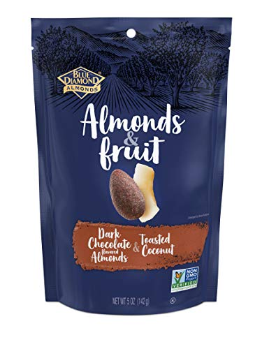 Blue Diamond Almonds & Fruit Bag, Dark Chocolate Flavored Almonds & Toasted Coconut, 5 Ounce