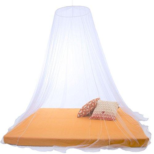 Sumkito Moskitonetz XXL Doppelbett weiß Mückennetz rund Bettvorhang rundum geschlossen