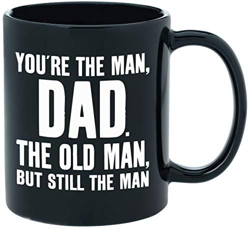 Taza de café con texto en inglés 'You're The Man, Dad' (11 onza), de cerámica negra, buena para el día del padre, regalos de cumpleaños para papá, o regalos de Navidad para papá de hijo, hija o niños.