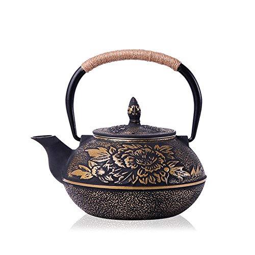 CAXYBB Juego de té Mini Tetera de Hierro Fundido con Mango Aislado, Capa de Filtro de Tetera Japonesa de Hierro Fundido Tetera patrón de Hoja China, 900 ml