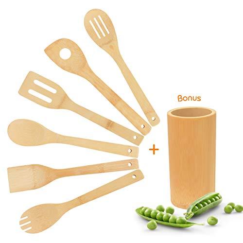 Pfannenwender-Kochlöffel-Küchenutensilien-Küchenhelfer-Küchenzubehör Set - aus Bambus 7 Stück,Natur