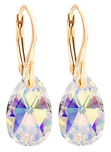 Ah! Jewellery Women's 16mm Pear Crystals Earrings. Genuine Vermeil: 24K Yellow Gold Over Sterling Silver. Stamped 925. 3gr Total Weight. (Aurore Boreale)