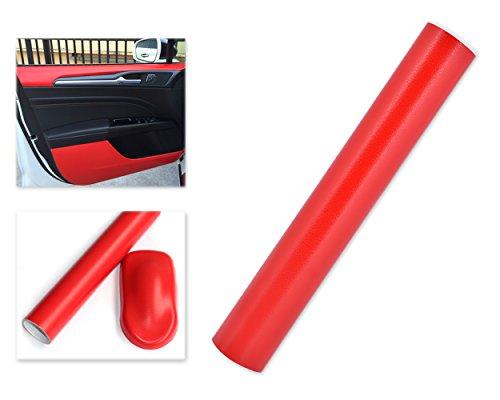 DSstyles 100 x 30 cm Textura de Cuero de Grano Fino Envoltura de Vinilo Etiqueta Engomada Del Coche Película de Rollo De Envoltura Autoadhesiva piel - Rojo