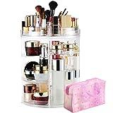 LIVEHITOP Organizador de Maquillaje 360° Giratorio, Grande Capacidad Acrilico Transparente Cosméticos Organizadores con Bolso para Dresser Baño, Regalo Para el Dia de San Valentin Mujer Niña