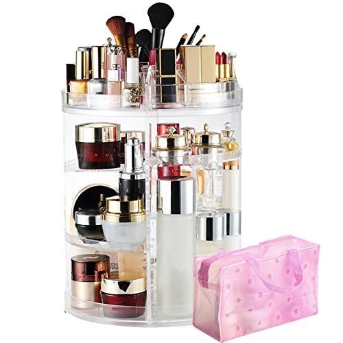 LIVEHITOP Make Up Halter Drehbar Kosmetik Organizer Acryl, 360 Grad Drehung Große Schmink Aufbewahrung Geschenk zum Valentinstag Mädchen Frau Schminktisch Badezimmer