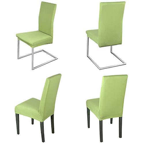 Staboos Stuhlhussen 4er Set aus 96% Baumwolle - Bi-elastische Stretch Stuhlüberzüge - Universal Stuhlbezug - Stuhlabdeckung waschbar & bügelfrei, Hellgruen