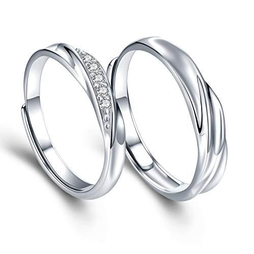 Sassu fine Mens Womens Endless love Silver rings Adjustable Ring Swarovski...