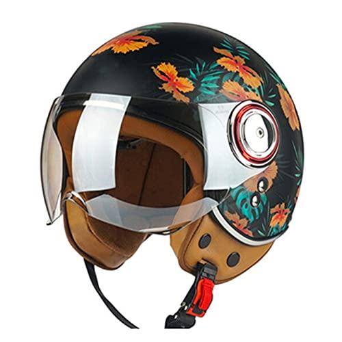 Casco jet de motocicleta vintage para hombres y mujeres Cool Girl Style Retro Medio casco para scooter ciclomotor 3/4 Cascos de motocicleta eléctricos de cara abierta Aprobado por DOT/ECE,B,M