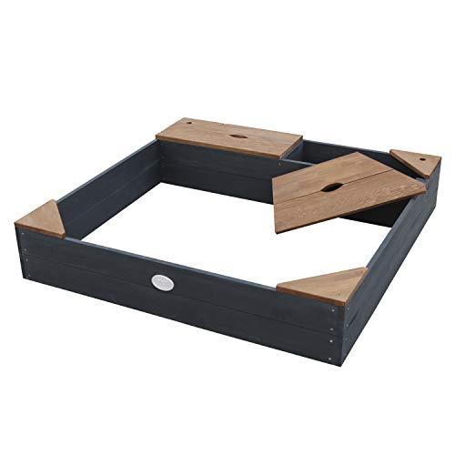 AXI Sandkasten Amy aus FSC Holz mit Abdeckplane in Anthrazit & Braun | Sand Kasten mit Abdeckung für Kinder mit Sitzbank, Sitzecken & Stauraum | 115 x 115 cm