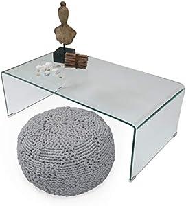 Homely - Mesa de Centro de Cristal Curvado de una Pieza Murano de 110x60 cm (Cristal Transparente)