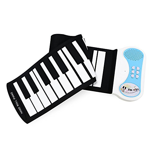 Eoncore 37 Keys Roll Up Portable Electronic Keyboard Piano Flexible Kids Piano Keyboard with Speaker for Beginners Boys Girls Blue
