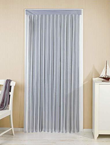 WENKO Türvorhang Grau-Weiß - Streifenvorhang, Insektenschutz-Vorhang, Polyester, 90 x 200 cm, Grau
