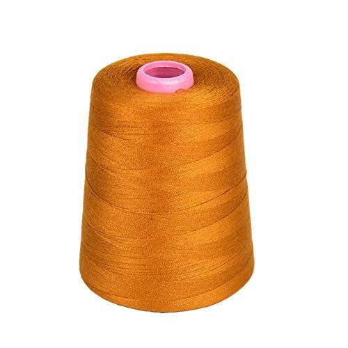 1 Cuchara 3000 yardas Jeans industriales Hilo de coser de poliéster de cuero para máquina de coser y mano Dorado y azul marino (Oro)