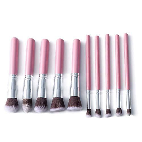 GBY Lot de 10 pinceaux de maquillage en bambou synthétique pour fond de teint, fard à paupières, eyeliner, Bronzer, Fibre synthétique., 01 Rose, Free