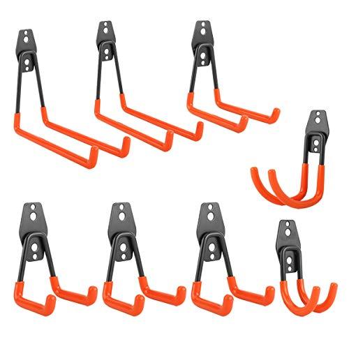 Homtone 8 Stück Garagenaufbewahrung Doppelhaken Wandhalter Stahl Garagenhalterungen Aufhänger Garten Werkzeughalter zur Organisation von Leitern, Stuhl, Schlauch, Fahrrad, Elektrowerkzeugen