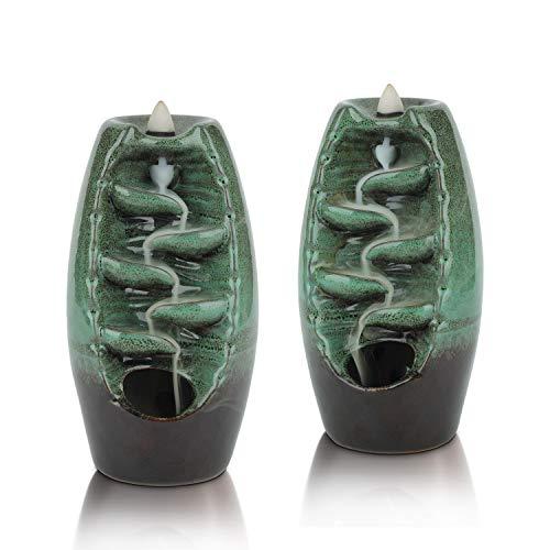 ComSaf Portaincenso Bruciatore a Riflusso, Bruciatore Porta di Incenso in Ceramica Ornamento per Casa e Ufficio Yoga, Spa