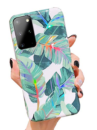 Galaxy S20 Plus Case,Duolaa Samsung S20+ Protective Cover Phone Case for Women Girls Glitter Bling Slim Fit Shockproof Soft Silicone Clear TPU Bumper Case for Samsung Galaxy S20 Plus 5G-Banana Leaf